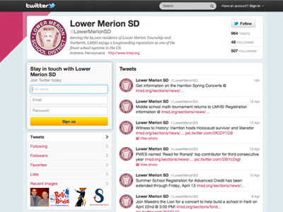 Lower Merion School District's Twitter handle is @LowerMerionSD. The board and communications staff members are looking into future possibilities for LMSD's social media presence.
