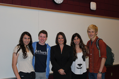 Montgomery County District Attorney Risa Vetri Ferman (center) with Lower Merion students (left to right) Darby Marx, Robbie Warshaw, Hillary Hoffstein and Andrew Pasquier.