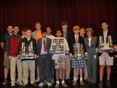 (From left to right) The Haverford School's robotics teams, comprised of Mentor Chuck Glick, Kelly Mao, Alex Karlson, Josh White, Tadas Antanavicius, Mohid Khan, Chris Compendio, Harper Weigle, Evan Kuritzkes, Sam Shaw, Andrew Clark, Adviser Megan Connolly and Chris Williams, took home many accolades from the VEX Robotics World Championship in Anaheim, Calif, including the Excellence Award. The award, the highest presented in the VEX Robotics Competition, automatically qualifies them to compete in the 2013 World Championship.