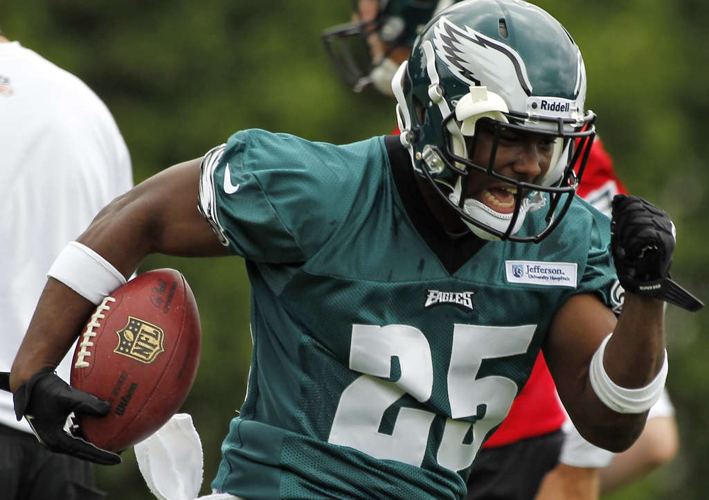 """With all the big-time players that we have, we really have to . . . prove ourselves,"" Eagles back LeSean McCoy said. Above, he carries the ball at practice Tuesday."