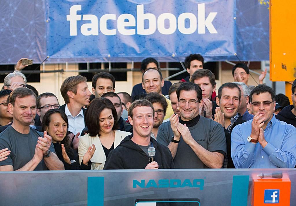 Facebook CEO Mark Zuckerberg (center) at the Nasdaq opening of trading in the firm's stock. ZEF NIKOLLA / Facebook