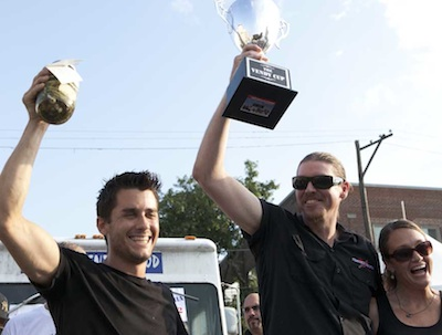 2012 Vendy Cup Winners Ryan Harrison, owner-opearator Mark Coates and Blake Feldman celebrate The Smoke Truck ´s victory in West Philadelphia on July 28, 2012. (HILLARY PETROZZIELLO / Photographer)