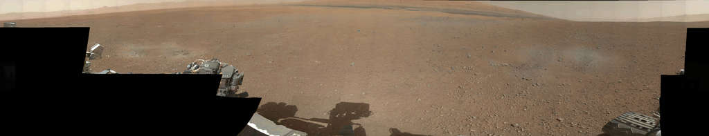 A 360-degree panorama image , released Thursday, taken on Mars by the Curiosity rover. It was stitched together using thumbnail images taken by the rover´s mast camera. Curiosity landed in Gale Crater on Aug. 4 to begin a two-year mission. NASA