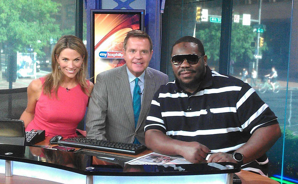 """Beanie Sigel (right) appeared on """"Good Day Philadelphia"""" with Karen Hepp (left) and Mike Jerrick."""