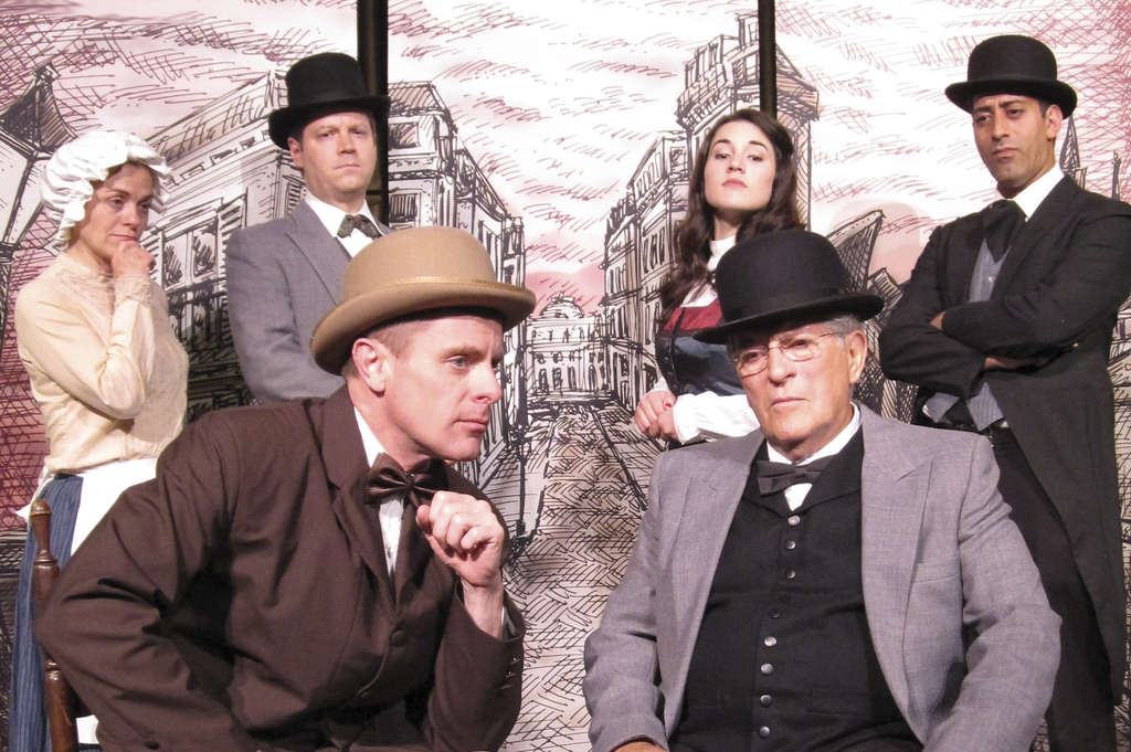 "In ""The Poe Mysteries"" at East Lynne are (back row from left) Shelley McPherson, Mark Edward Lang, Grace Wright, and James Rana, and (front row from left) Thomas Raniszewski and Fred Velde."