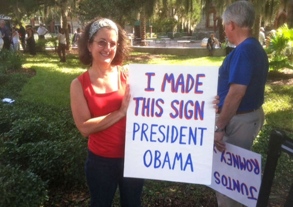 "Elisa Miyares at a Romney rally in St. Augustine, Fla. She says Obama´s views are ""very frightening."""