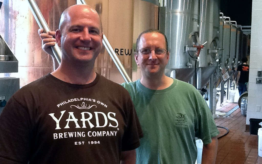 Tim Roberts (left), a longtime area brewer now at Yards, at Iron Hill´s Maple Shade, N.J., brewpub for a collaborative brew with its head brewer, Chris LaPierre.