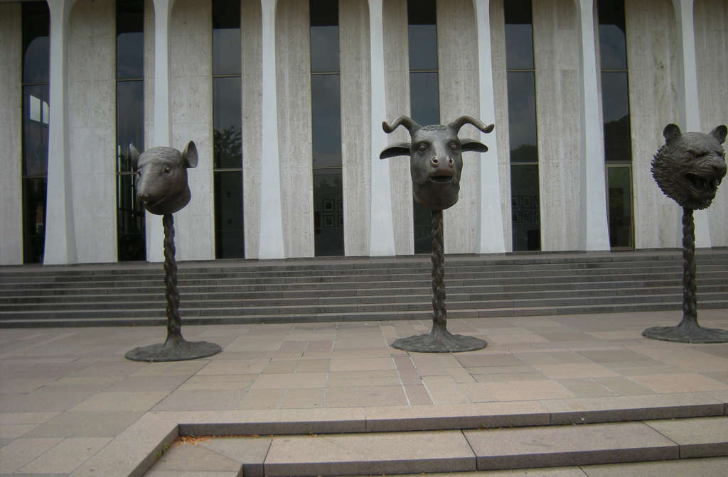 "Detail of Ai Weiwei´s installation of 12 bronzes, ""Circle of Animals/Zodiac Heads,"" in front of Robertson Hall at Princeton University: (from left) Rat, Ox, Tiger."