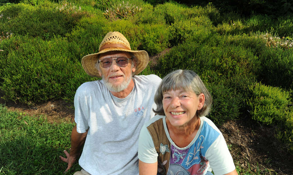 Paul and Jane Murphy in front of a bed of Erica heath at their Hickory Hill Heath & Heather Nursery near Oxford.
