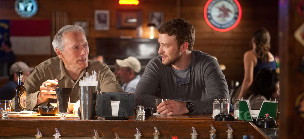 Grumpy Gus (Clint Eastwood) with Johnny (Justin Timberlake).