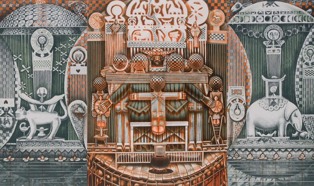 """Family Ark,"" a print by John Biggers, one of the nationally known artists in the Art Museum show testifying to Brandywine Workshop´s significance to long-neglected or ignored minority artists."