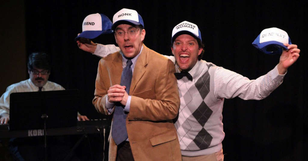 Sonny Leo (left) as the accompanist, Tony Braithwaite (center) and Steve Pacek as the zanies pitching a Gutenberg musical.