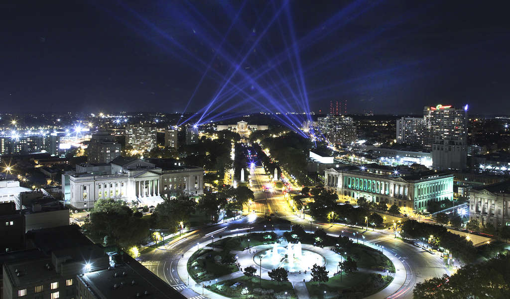 "Searchlights were trained over the Parkway for three weeks in ""Open Air,"" an art project by Rafael Lozano-Hemmer. He tweaked the show enough to avoid the feared ill effects on birds."