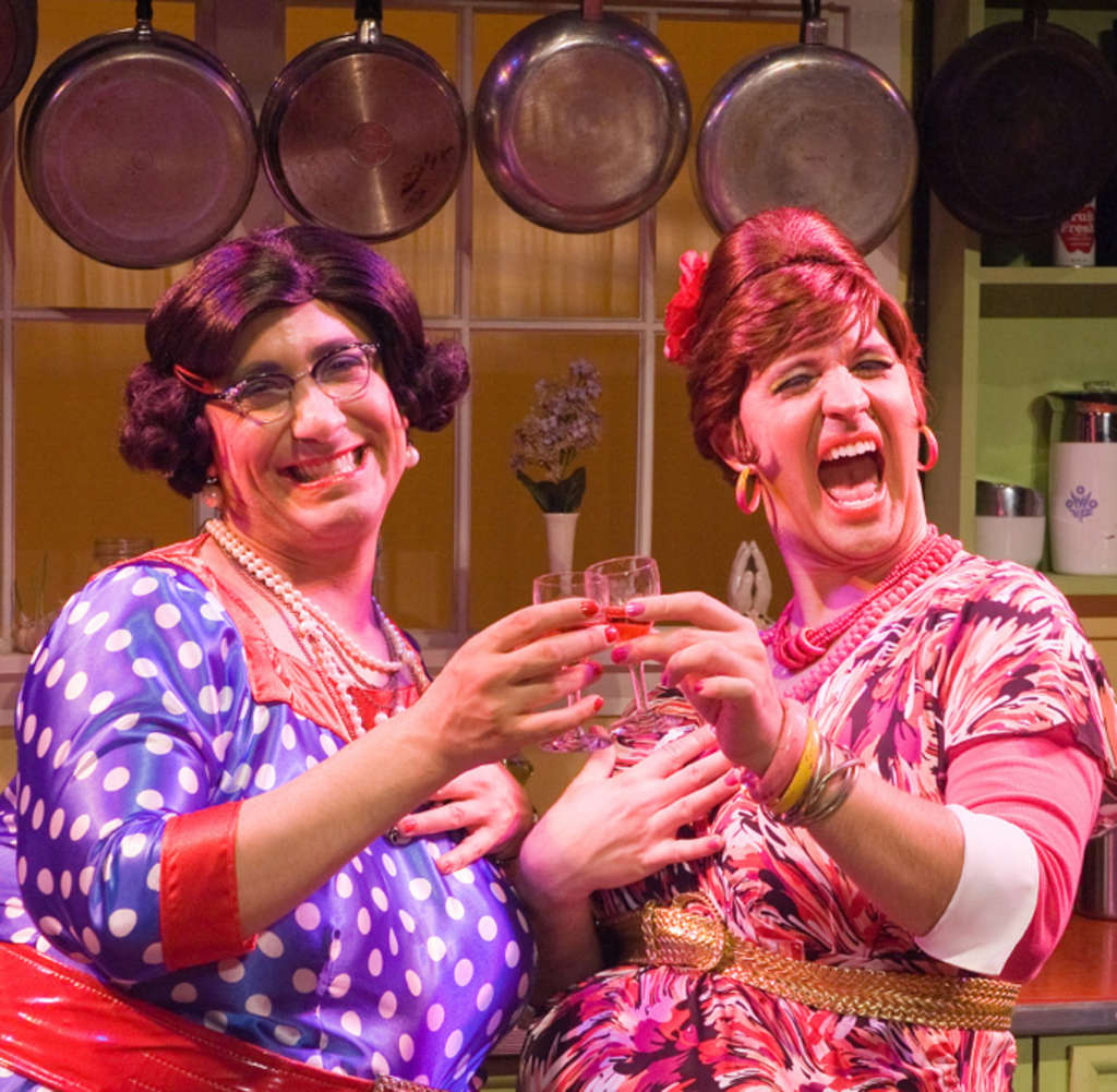 "Jay Falzone as Delphine (left) and Stephen Smith as Carmela in ""Cooking With the Calamari Sisters,"" at the Society Hill Playhouse after two years in Upstate New York."