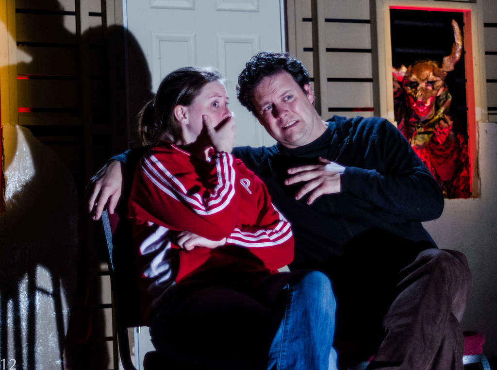 Megan Slater, as Joan , and Jared Michael Delaney, as Jeff, play the couple in the deliberately fragmented play. AARON OSTER