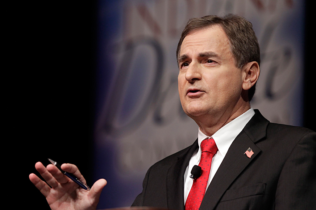 Republican Richard Mourdock, candidate for Indiana´s U.S. Senate seat, participates in a debate with Democrat Joe Donnelly  and Libertarian Andrew Horning in a debate on Tuesday.