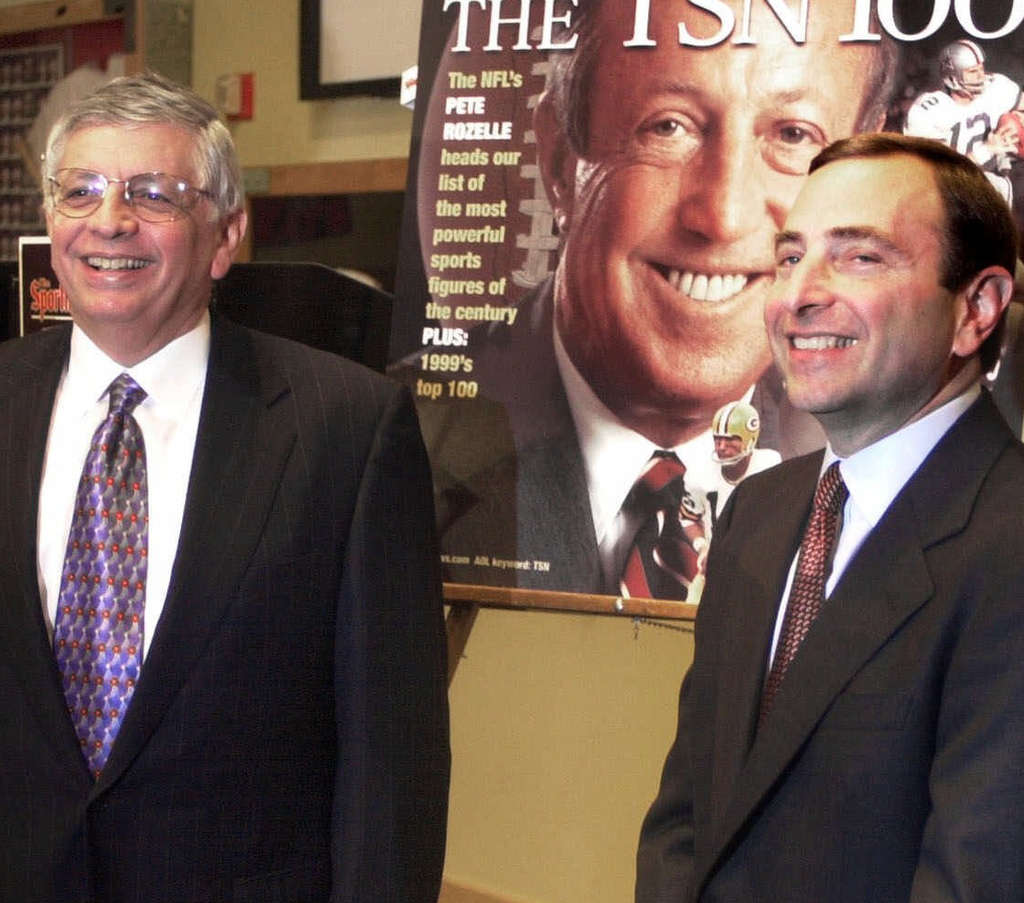 NBA commissioner David Stern (left) can be considered a mentor to NHL commissioner Gary Bettman.