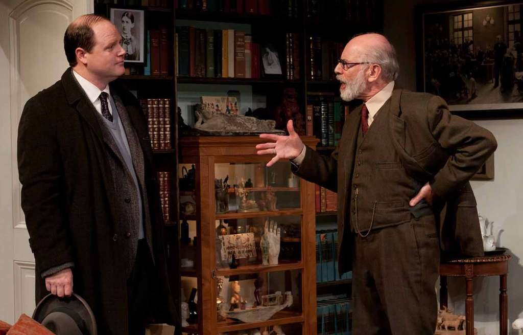 "Todd Scofield (left) as the young writer and David Howey as Freudin the Arden Theatre production of ""Freud´s Last Session."""