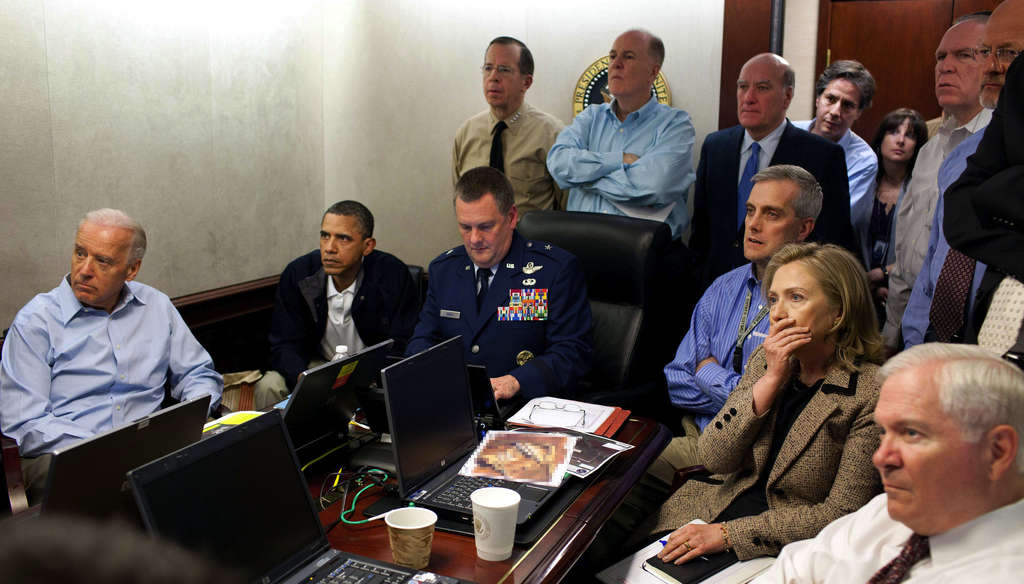 President Obama, Vice President Biden (left), Defense Secretary Robert Gates, Secretary of State Hillary Rodham Clinton, and national security brass follow the mission against Osama bin Laden.