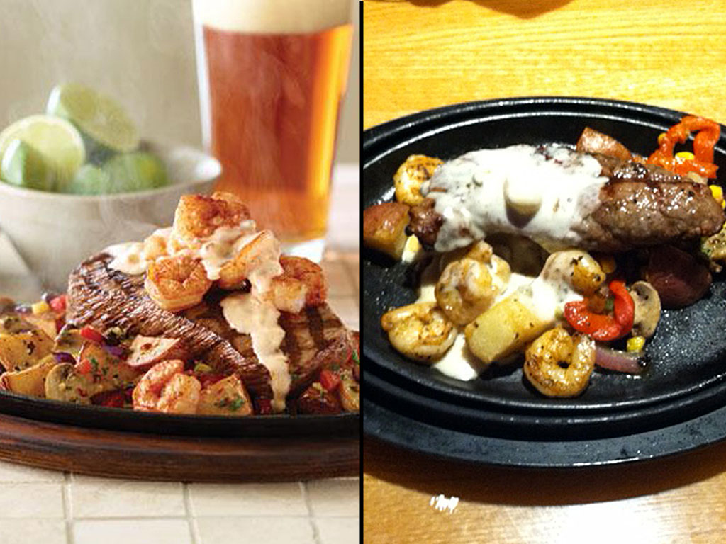 Applebee´s Chipotle Cream Steak: As the company describes it (left) and as Chain Gang was served it (right).