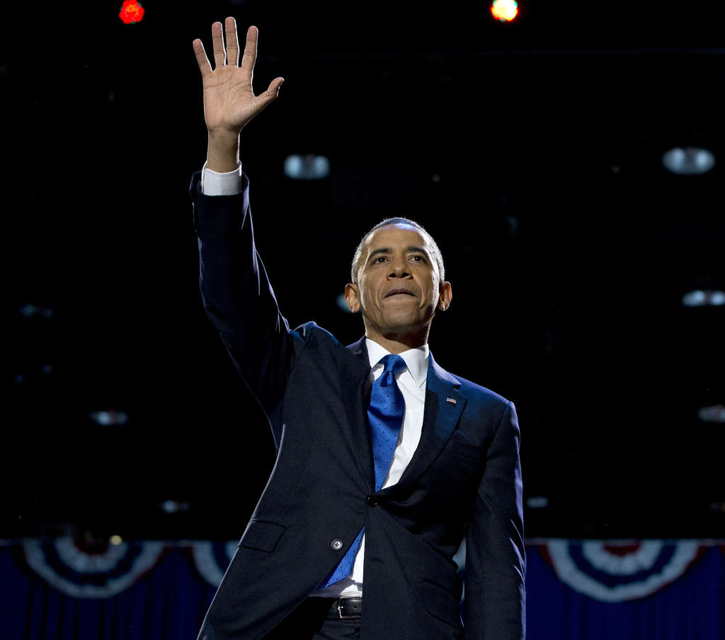 President Obama waves to supporters at the election night party in Chicago.