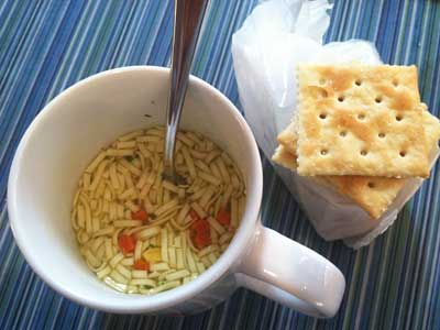 Lipton Cup-A-Soup and saltines.  CRAIG LABAN / Staff