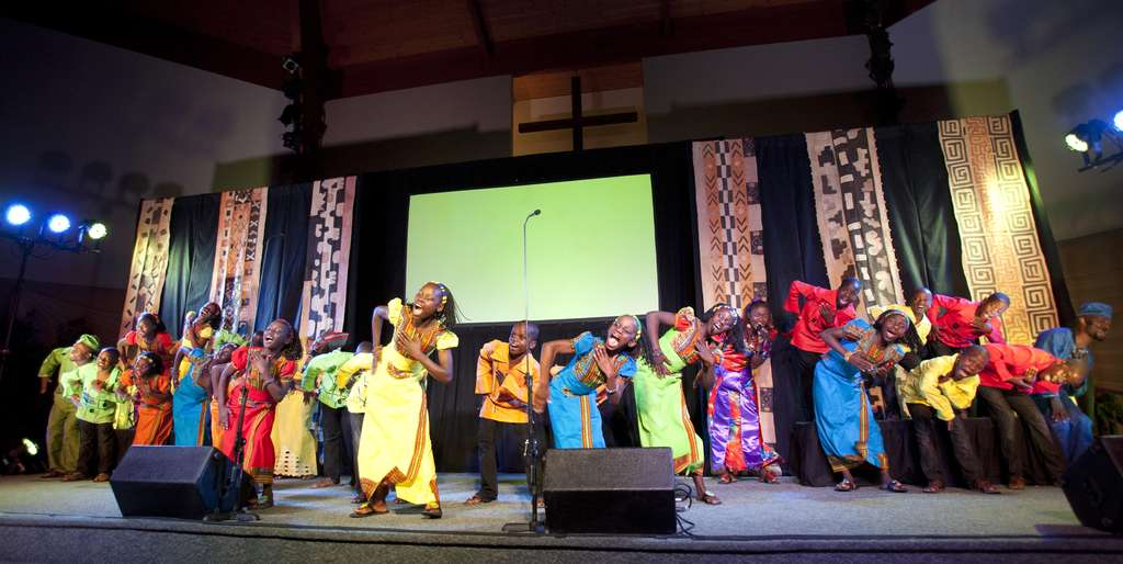 The Watoto Choir in performance at the Family Worship Center in Lansdale. The choir performs locally until Nov. 25.