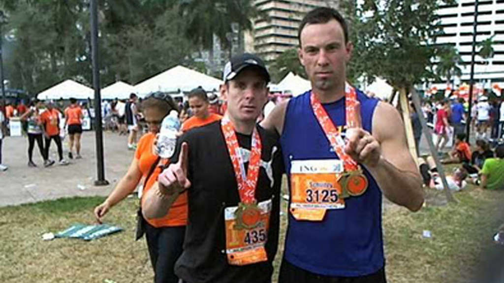 Craig Davidson (left) and Dan Schultz after the Miami Marathon in January. They´re pursuing 12 marathons in 12 different states in the 12 months of 2012. Just one left: Vegas, baby.