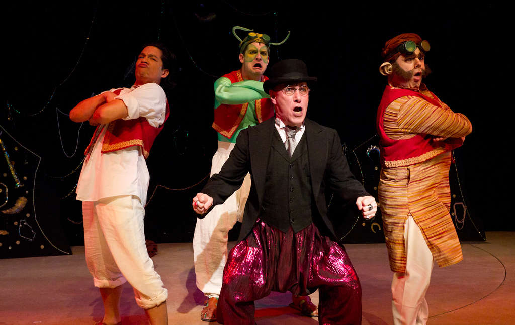 Mal Whyte (center) is the Genius of the Ring; from left are Justin Jain as Aladdin, Andrew Kane as Morris the Mantis, and Brad DePlanche as Manny the Monkey.
