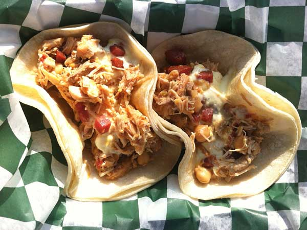 Chicken and crispy chorizo tacos.  CRAIG LABAN