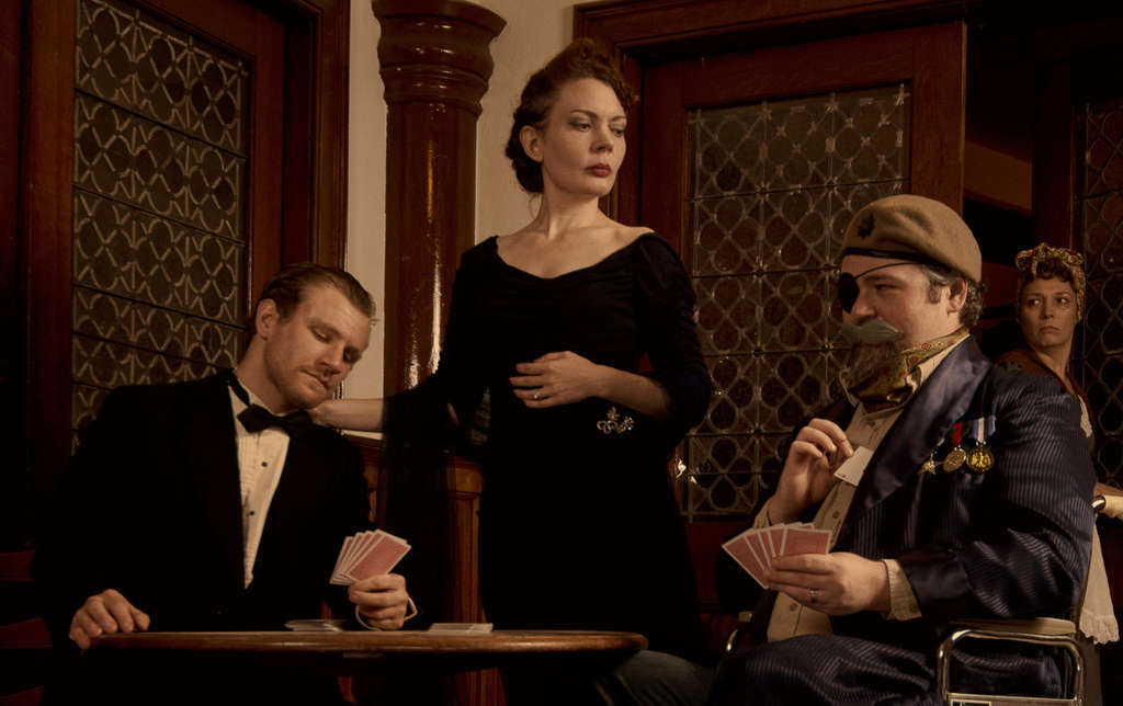 "In the cast of ""The Real Inspector Hound"" : (from left) Steve Carpenter, Jennifer Summerfield, Joshua L Browns, and Aetna Gallagher. Tom Stoppard´s parody of a murder mystery is produced by Curio Theatre. KYLE CASSIDY"