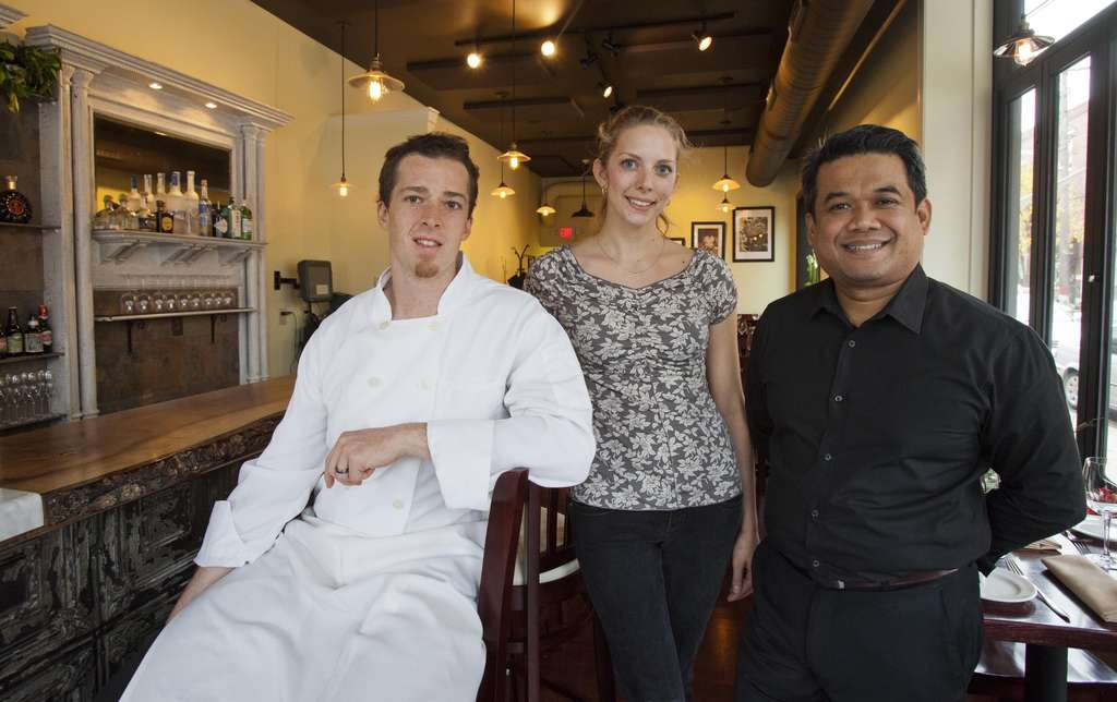 Chef Lee Styer (left), pastry chef Jessie Prawlucki, partner Tory Keoman- ivong of Fond, now at 1537 S. 11th.