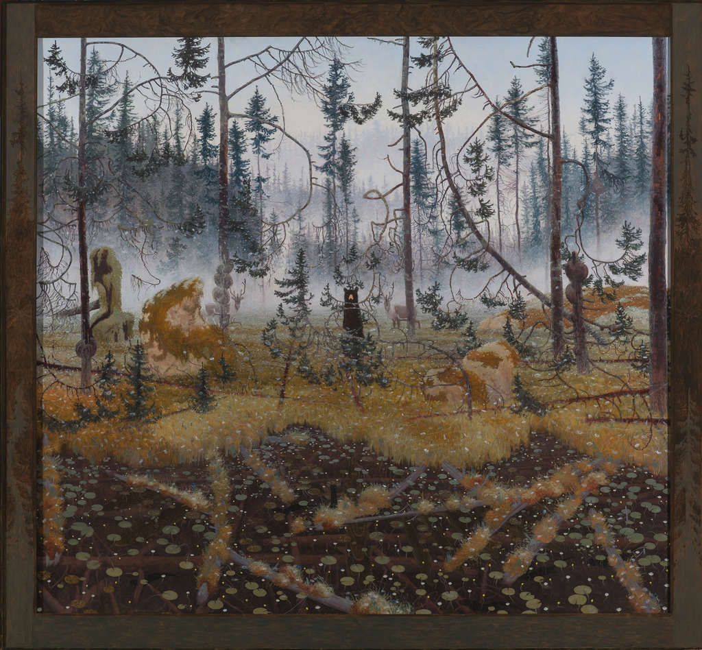 """Tom Uttech´s painting """"Maskegowok"""" (2011), part of his exhibition at Swarthmore College."""