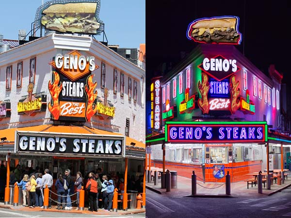 The old sign over Geno´s Steaks (left) and the new version (right).