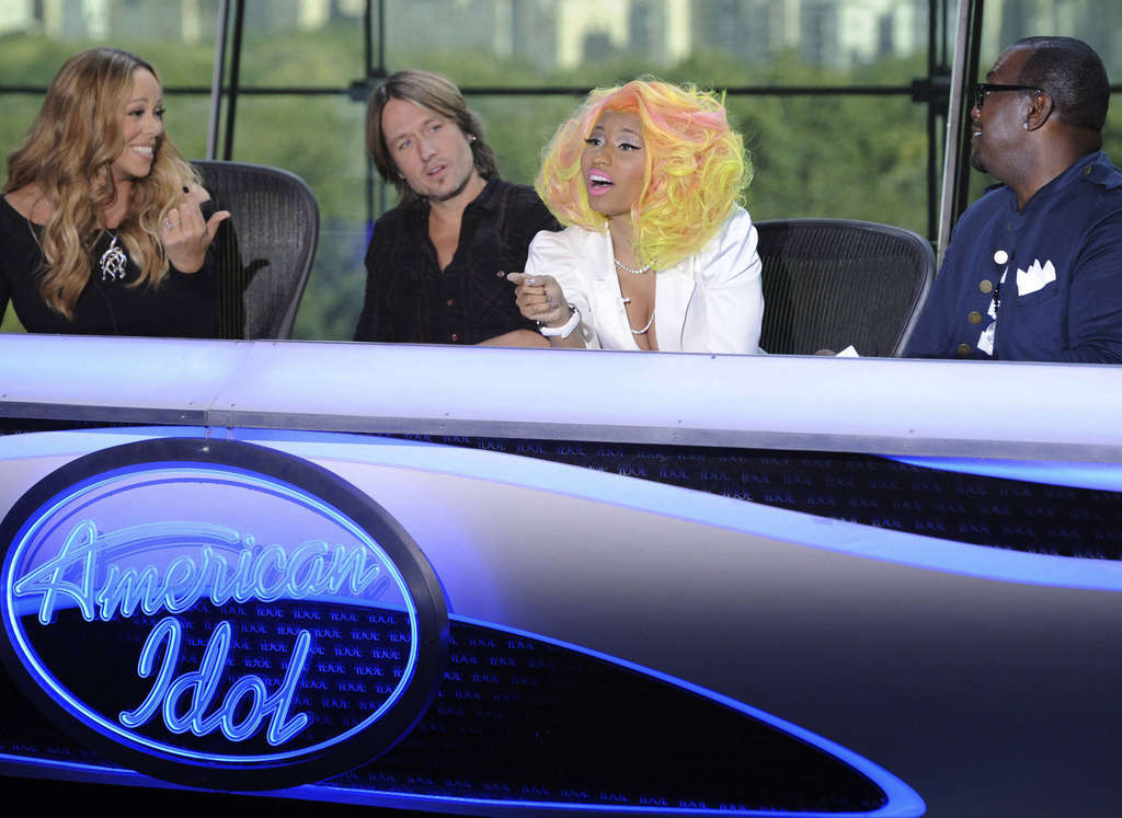 """Nicki Minaj (second from right) has grabbed the limelight from her fellow """"American Idol"""" judges: (from left) Mariah Carey, Keith Urban, and Randy Jackson."""