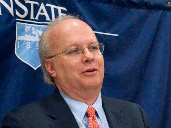 In this October 2009 file photo, former White House senior adviser Karl Rove answers a question at Penn State University in State College, Pa.  (AP Photo/John Beale, File)