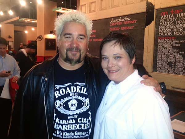 TV host Guy Fieri with chef Erin O´Shea of Percy Street BBQ on South Street.