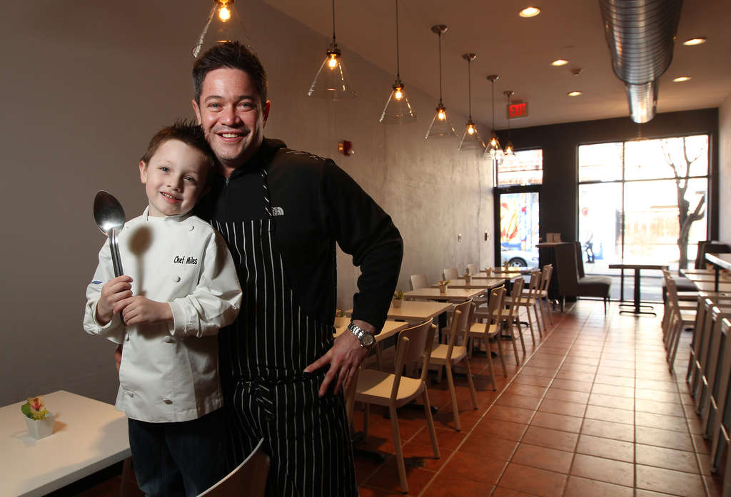 Chef Michael Lynch and Miles, almost 5, in the new restaurant Miles Table on South Street opening Saturday: A cozy, neighborhood-friendly spot with counter service, breakfast all day, and more.