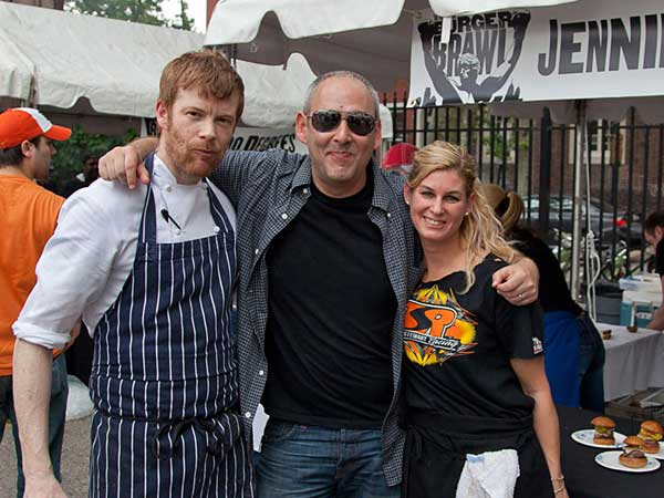 Burger Brawl organizer Rob Wasserman (center) with The Dandelion´s Robert Aikens and Jennifer Carroll.
