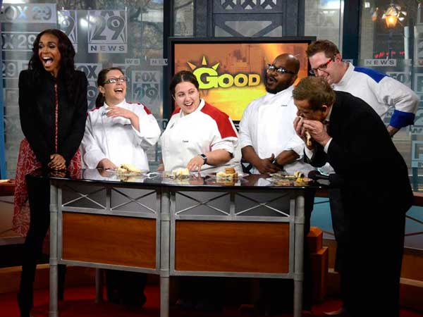 With Fox29 host Mike Jerrick (far right), Michelle Williams cuts up with (from left) Jacqueline Baldassari, 27, Cyndi Stanimirov, 25, Zach Womack, and (the cook-off winner) Michael Langdon, 33.