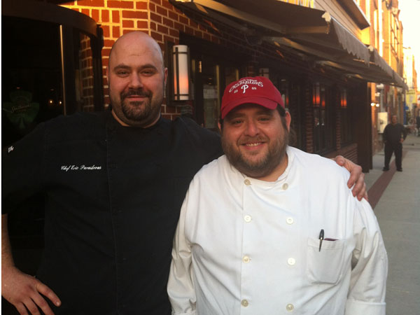 Eric Paraskevas (left) outside of the restaurant with Pat Cancelliere.