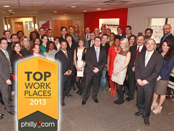 The staff at Keller Williams in Center City, winner of the 2013 Top Workplaces award for Large Employers.