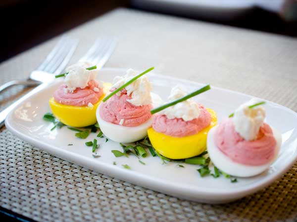 Beet Deviled Eggs with Smoky Blue Cheese at Supper, on South Street.