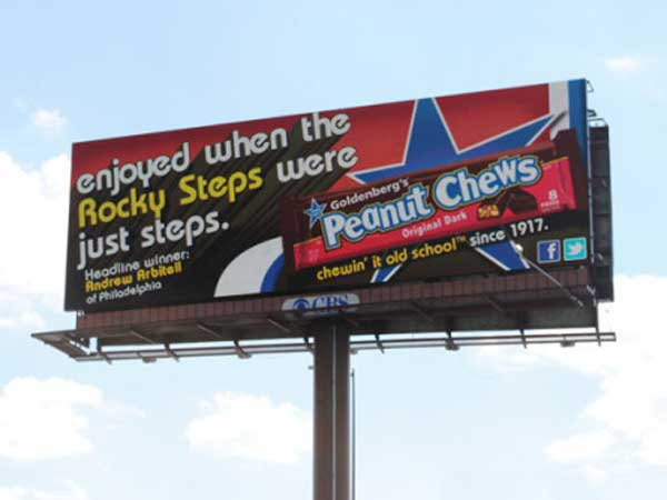 A Temple ad major channeled Rocky to win a Peanut Chews billboard contest.