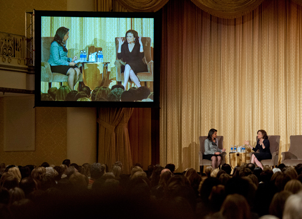 "Sheryl Sandberg (right), Chief Operating Officer of Facebook and best-selling author of ""Lean In: Women, Work and the Will to Lead,"" speaks to a packed house at a Greater Philadelphia Chamber of Commerce Arts & Business Council breakfast meeting at The Hyatt at the Bellevue Thursday morning.  At left is moderator Tamala Edwards from 6ABC."