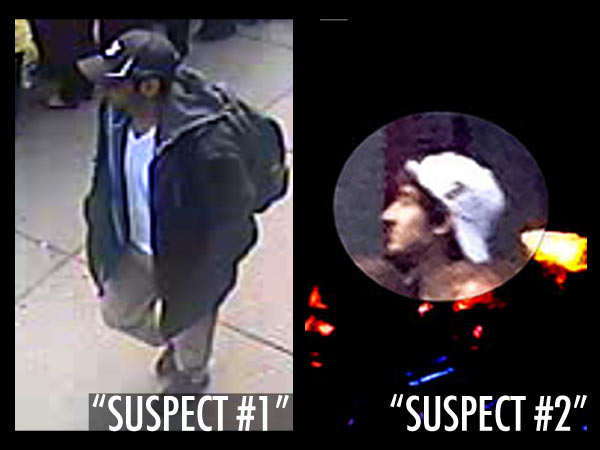 "The FBI is seeking two men in connection with the bombings at the Boston Marathon: the man they are calling ""Suspect #1"" is at left; ""Suspect 2"" is at right."