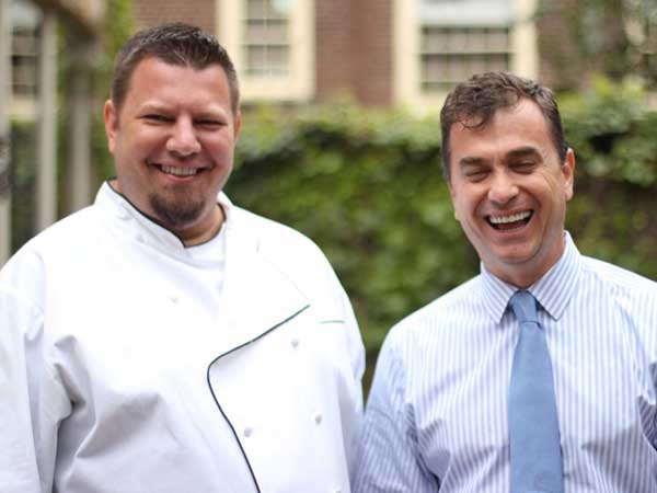 Mike Stollenwerk (left) with Branzino owner Luan Tota.