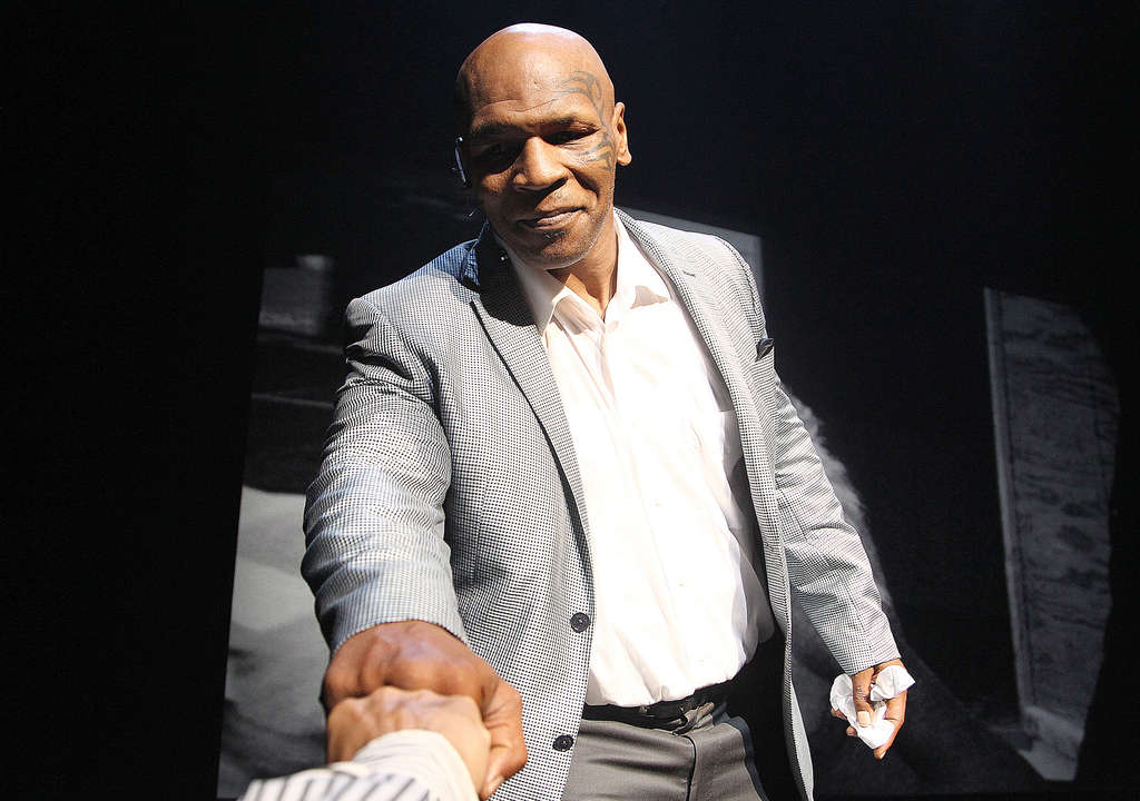 ASSOCIATED PRESS Mike Tyson, shown during a curtain call after New York show, appeared at the Academy of Music.