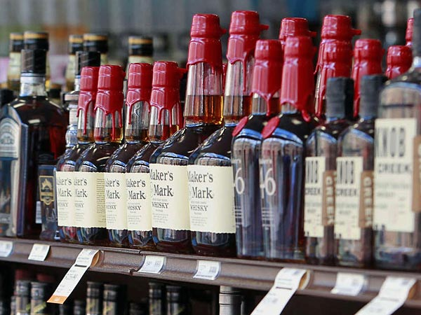 Liquor on the shelves at a State Store. AKIRA SUWA / Staff Photographer