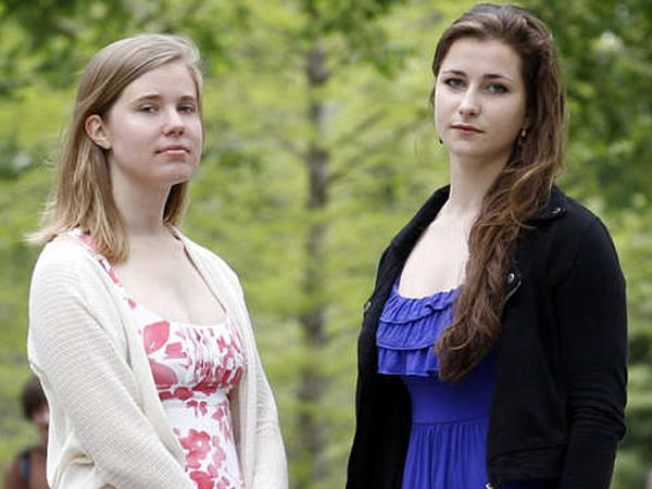 Hope Brinn (left) and Mia Ferguson at Swarthmore College in Swarthmore, Delaware County, on Tuesday, May 7, 2013. The two sophomore students sparked a federal complaint against the college for under-reporting or downplaying cases of sexual assault.  (Yong Kim / Staff Photographer)